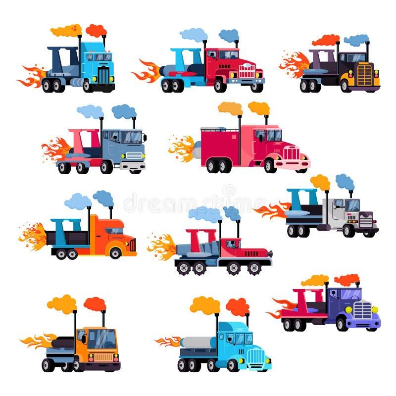 Emballage d'entrave flamy de voiture de course de postcombustion de vecteur de camion de jet sur l'ensemble speedcar d'illustrati illustration stock