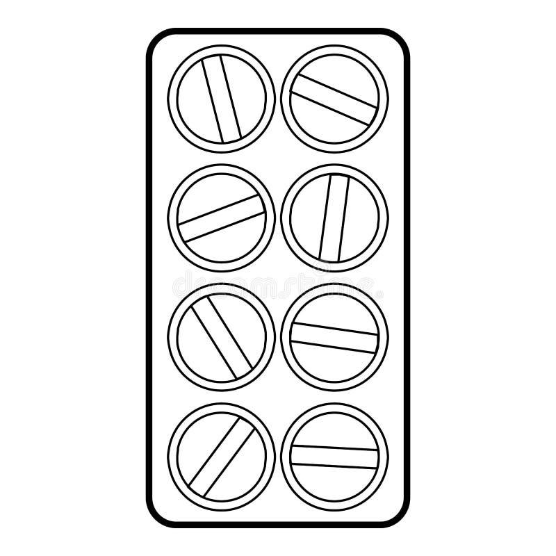 Emballage d'icône ronde de comprimés, style d'ensemble illustration stock