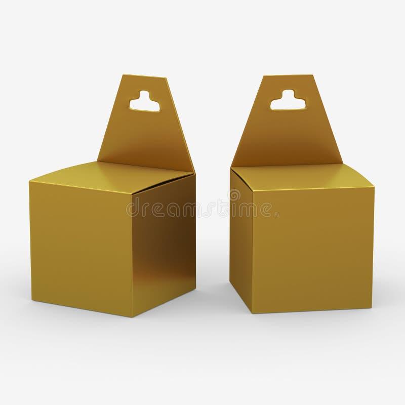 Emballage de boîte de papier d'or avec le cintre, chemin de coupure inclus illustration libre de droits