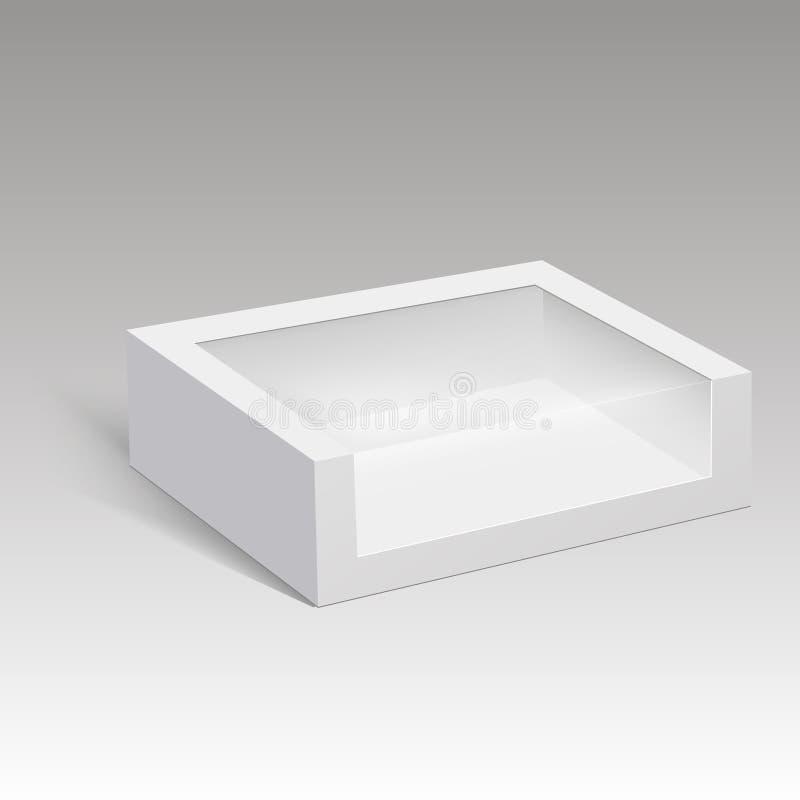 Emballage de boîte de papier blanc pour le sandwich, la nourriture, le cadeau ou d'autres produits avec la fenêtre en plastique I illustration libre de droits