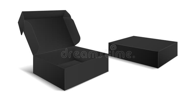 Emballage de bo?te noire  Vue de côté ouverte et boîtes fermées de blanc de cadeau Vecteur noir du paquet 3d de produit de carton illustration stock