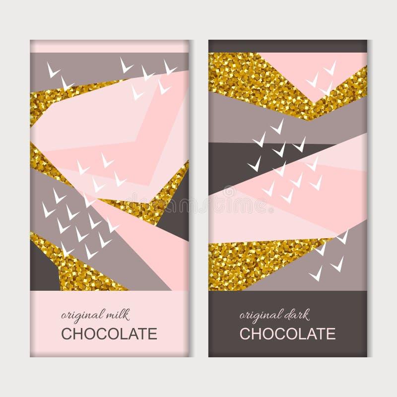 Emballage de chocolat Calibre de luxe à la mode avec le modèle créatif avec les éléments d'or Conception de vecteur illustration libre de droits