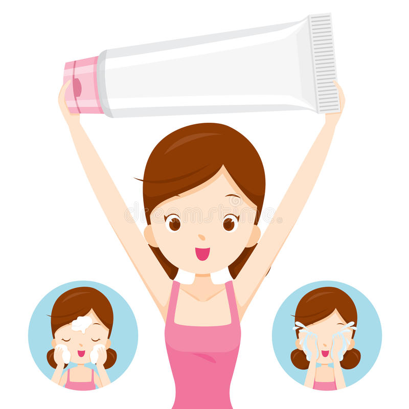 Emballage de fille et visage de transport de nettoyage