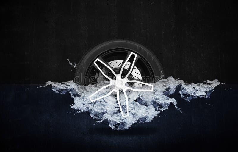 Emballage de la roue avec le disque de frein dans l'eau illustration de vecteur