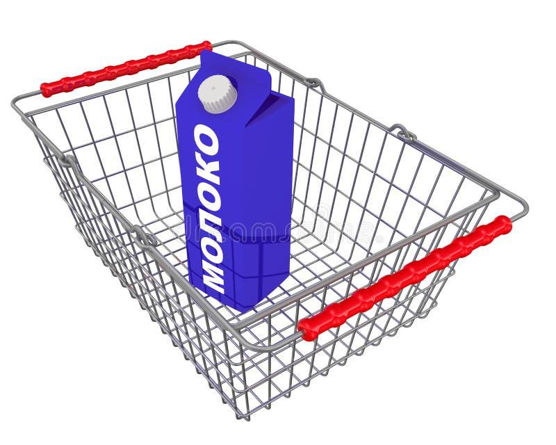 """Emballage de lait dans un panier d'épicerie Texte de traduction : """"lait """" illustration stock"""