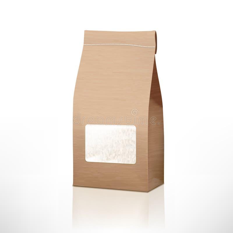 Emballage de papier de sac de riz de métier de Brown avec la fenêtre transparente illustration libre de droits