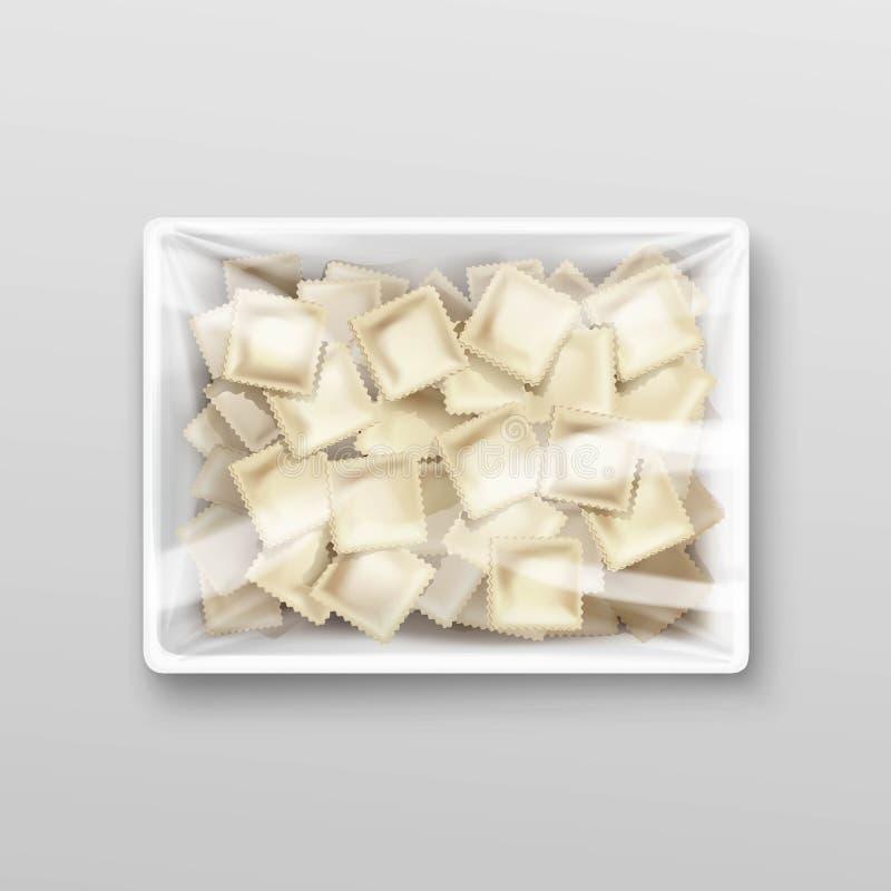 Emballage de ravioli de boulettes de viande de Pelmeni illustration stock