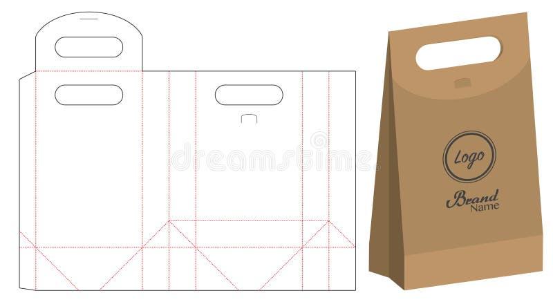 Emballage de sac de papier découpé avec des matrices et maquette du sac 3d illustration libre de droits