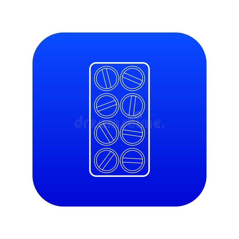 Emballage de vecteur bleu d'icône ronde de comprimés illustration stock