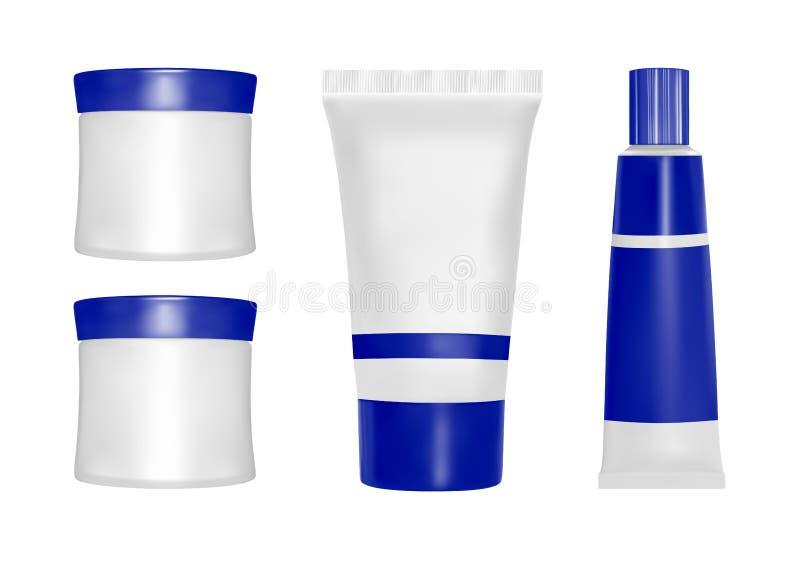 Emballage de vecteur Produits de soin de fuselage Huile, lotion ou savon, shampooing, crème Moquerie réaliste de bouteille établi illustration de vecteur