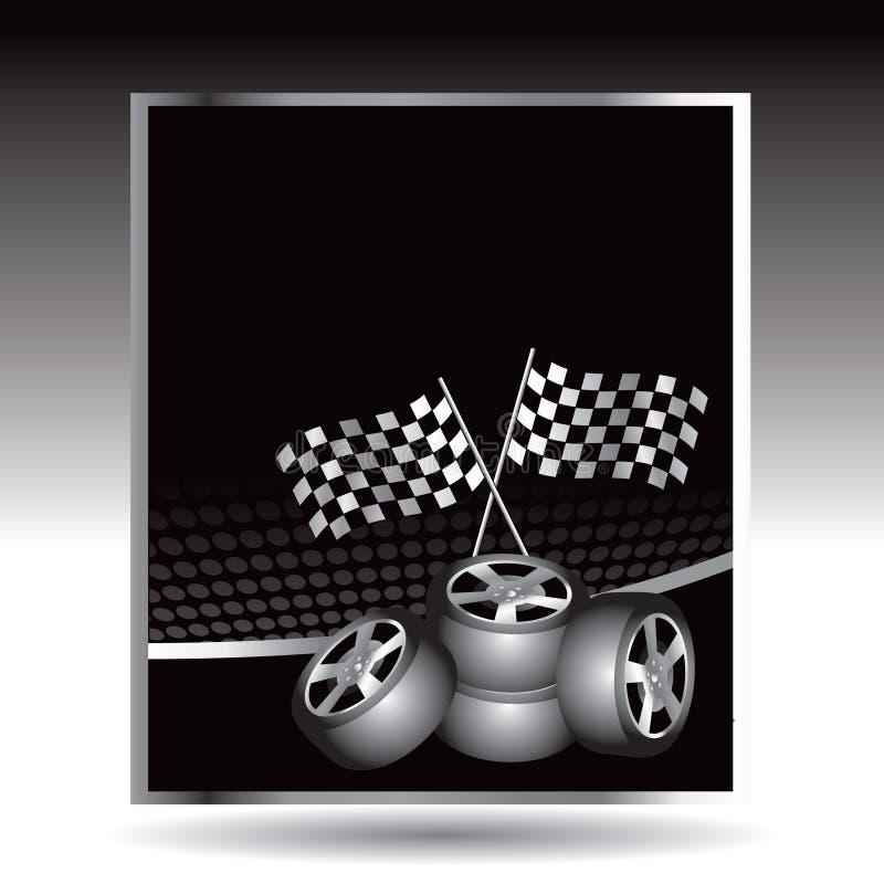 Emballage des indicateurs et des pneus checkered sur des boutons de Web illustration stock