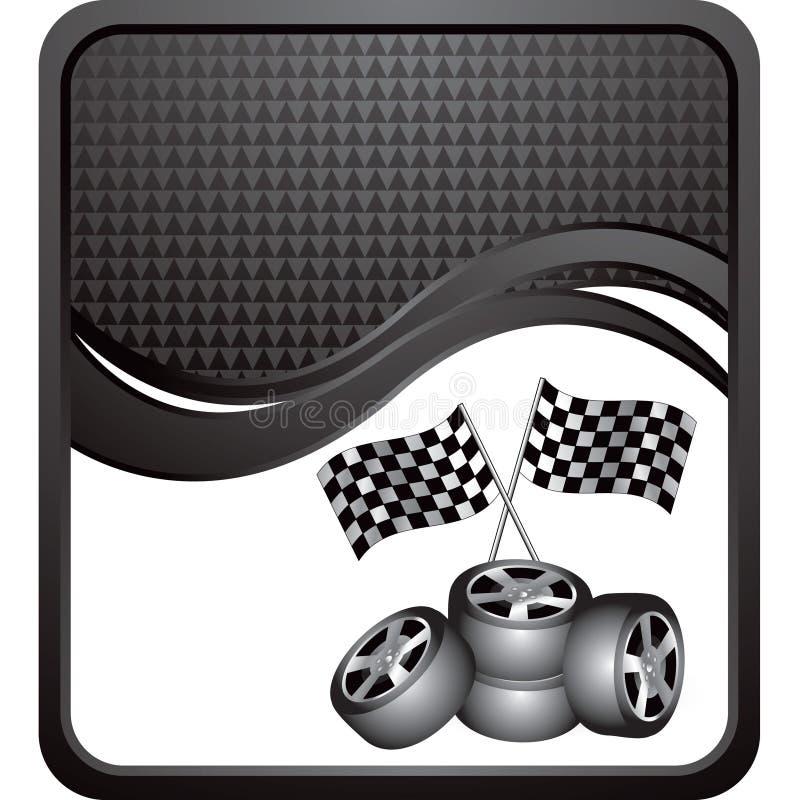 Emballage des indicateurs et des pneus sur l'annonce checkered noire d'onde illustration libre de droits