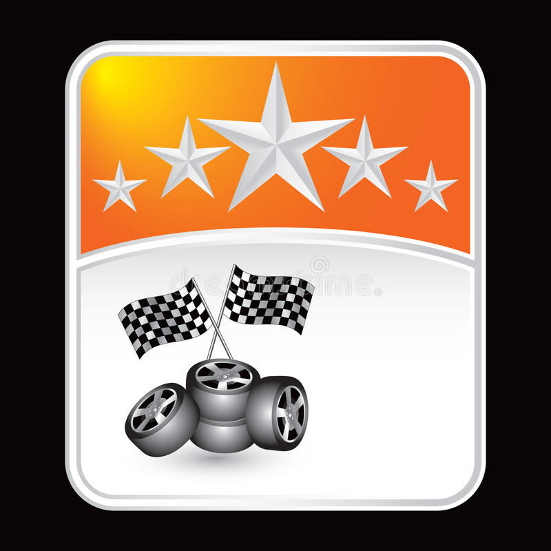 Emballage des indicateurs et des pneus sur le contexte orange de pneu illustration libre de droits