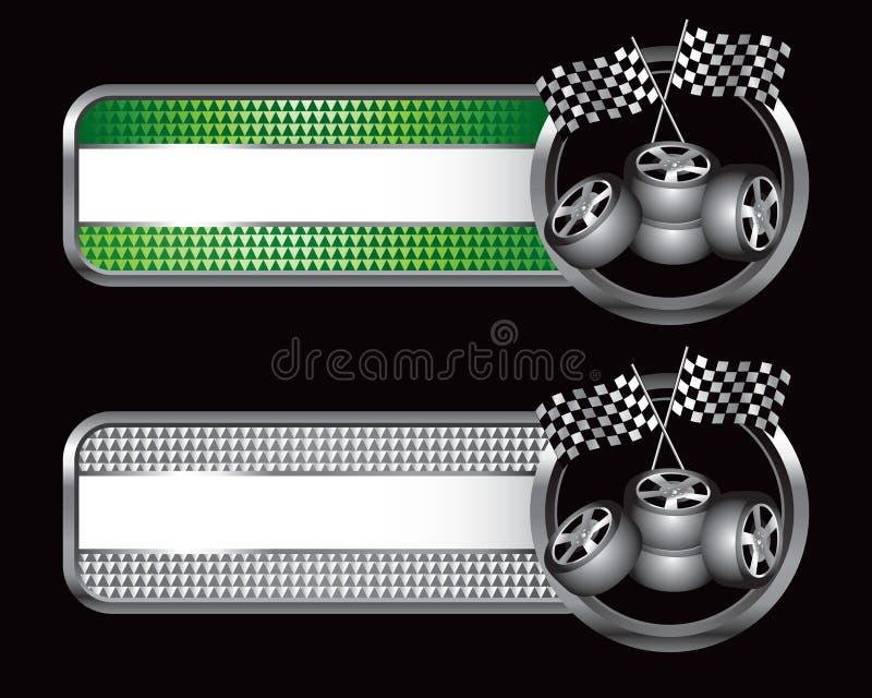 Emballage des indicateurs et des pneus sur les drapeaux spécialisés illustration stock