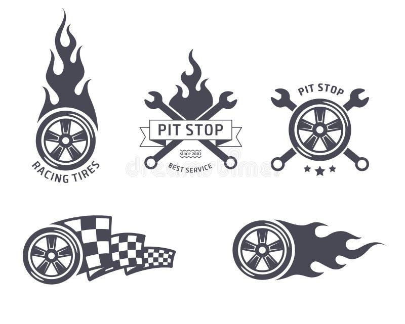 Emballage des pneus et des emblèmes de vecteur de service illustration de vecteur