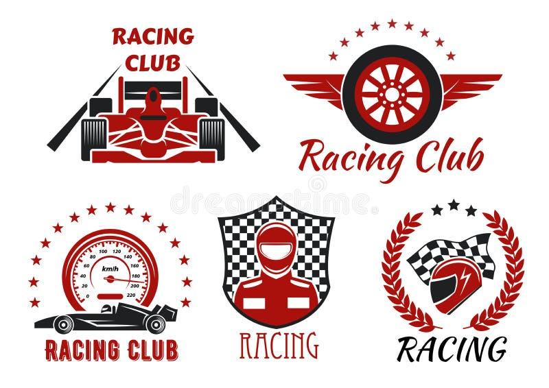 Emballage du club, conception d'icônes de concurrence de sport mécanique illustration stock