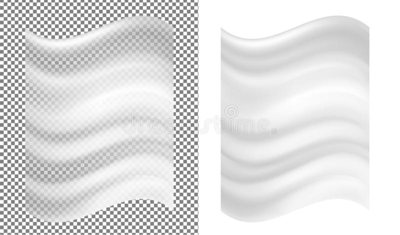 Emballage en plastique et drapeau transparents blancs illustration stock