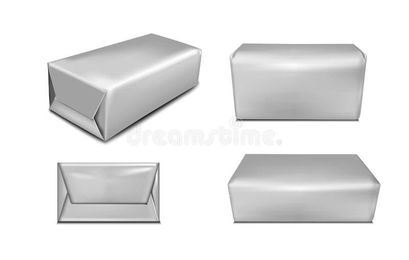 Emballage noir de papier ou d'aluminium pour le beurre et la margarine réaliste illustration de vecteur