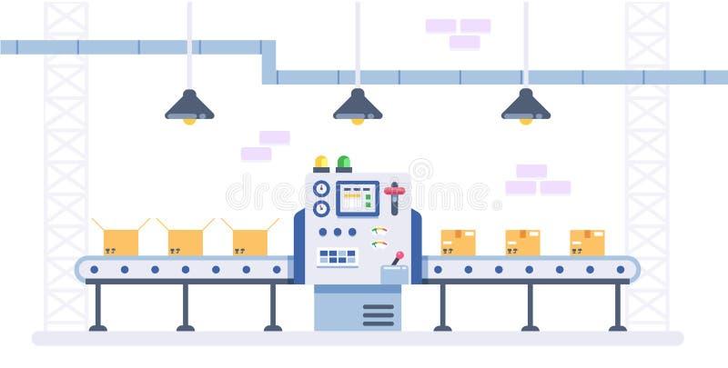 Emballage- och produktionslinjebegrepp i plan stil Industriell maskinvektorillustration Kartonger på transportör vektor illustrationer