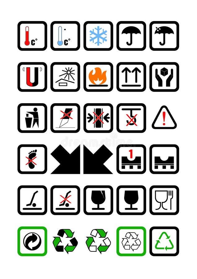 Emballage- och sändningssymboler royaltyfri illustrationer