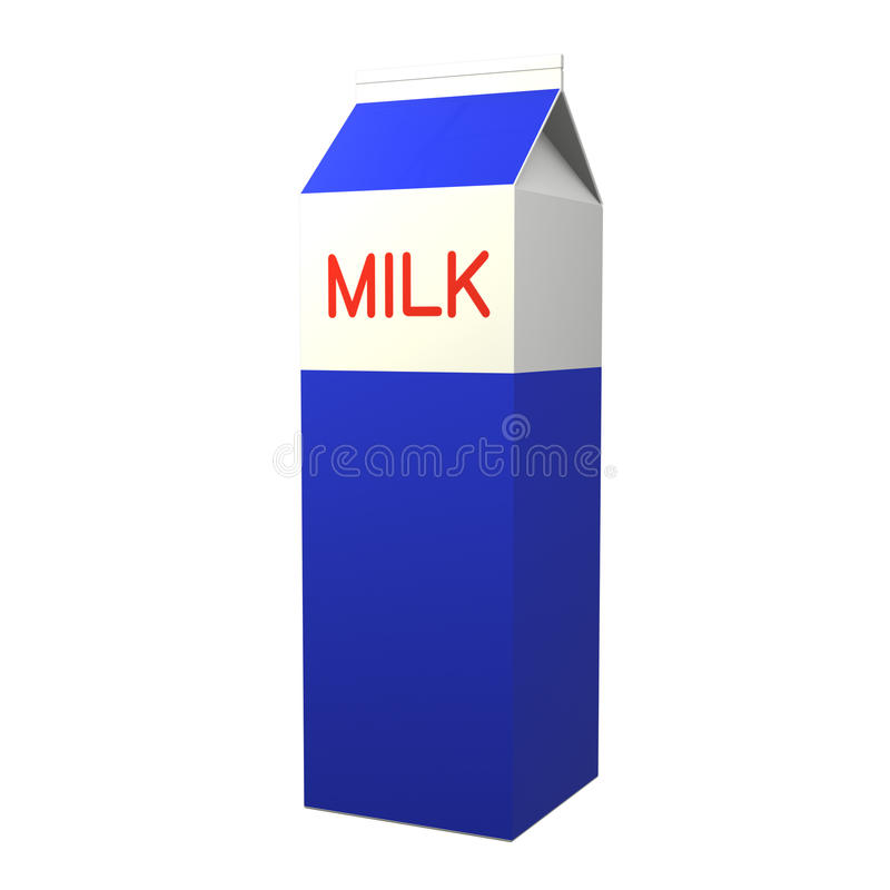 Emballage pour le lait sur un blanc illustration libre de droits