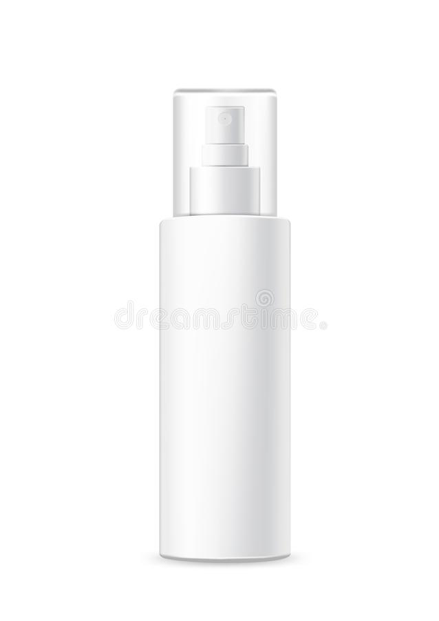 Emballage réaliste de jet, bouteille en plastique blanche, pour la publicité et la conception Calibre pour des cosm?tiques Maquet illustration stock