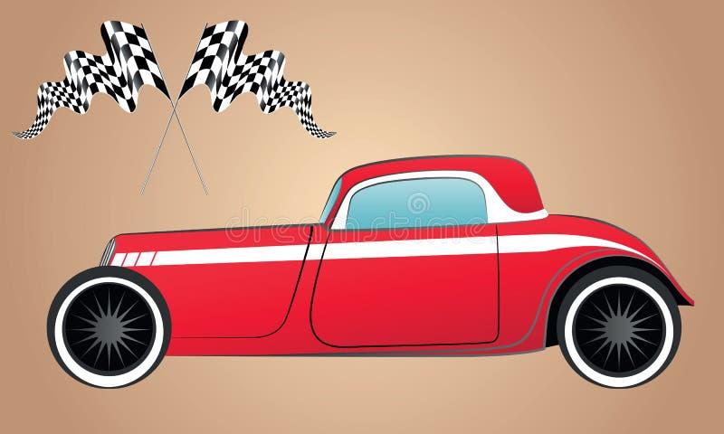Emballage rouge de silhouette et véhicule de hot rod rétro illustration libre de droits