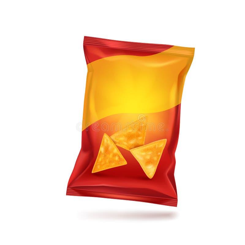 Emballage rouge pour des puces de nachos, maquette pour votre conception et publicité, une forme de empaquetage vide Vecteur illustration libre de droits