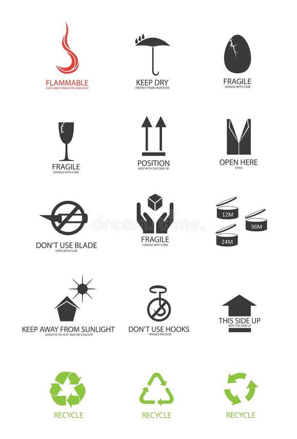 emballage symboler stock illustrationer