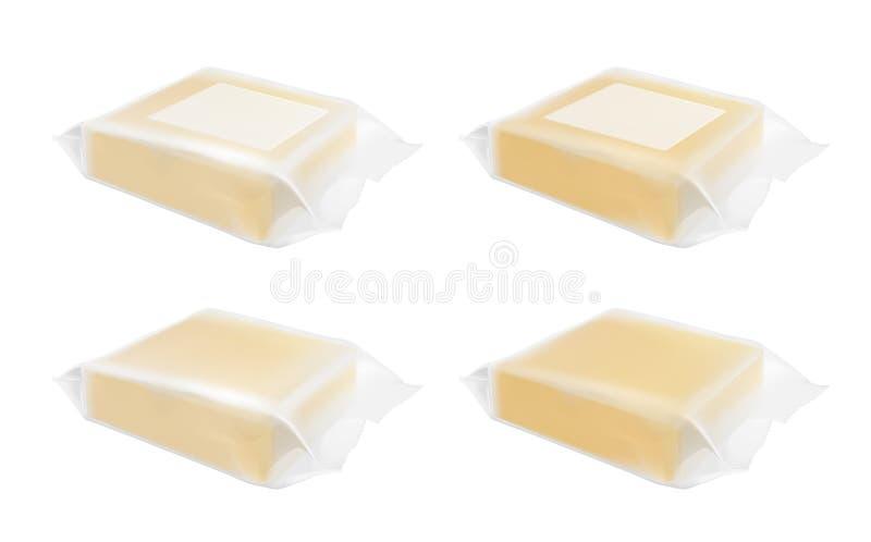 Emballage transparent avec du fromage ou le beurre illustration de vecteur