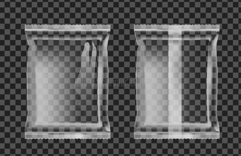 Emballage transparent sous vide pour les casse-croûte, la nourriture, les frites, le sucre et les épices illustration libre de droits