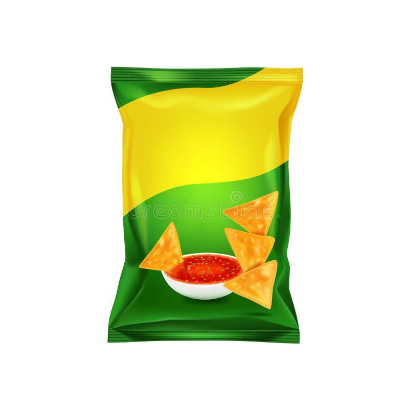 Emballage vert pour des puces de nachos, maquette pour votre conception et publicité, une forme de empaquetage vide Vecteur illustration stock