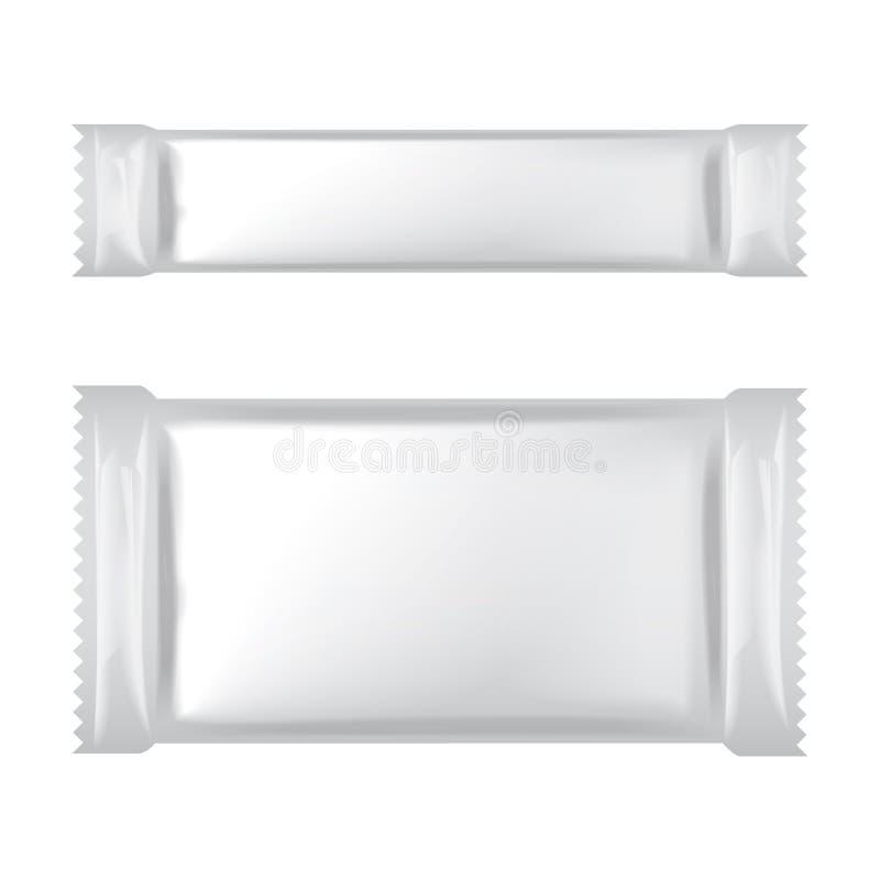 Emballage vide blanc de sac d'aluminium pour la nourriture, casse-cro?te, sucre, sucrerie, assaisonnement, shachet m?dical Moquer illustration de vecteur