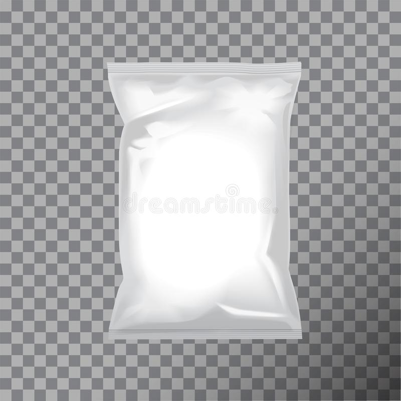 Emballage vide de sac d'aluminium pour la nourriture, casse-croûte, café, cacao, bonbons, biscuits, écrous, frites Moquerie d'emb illustration libre de droits