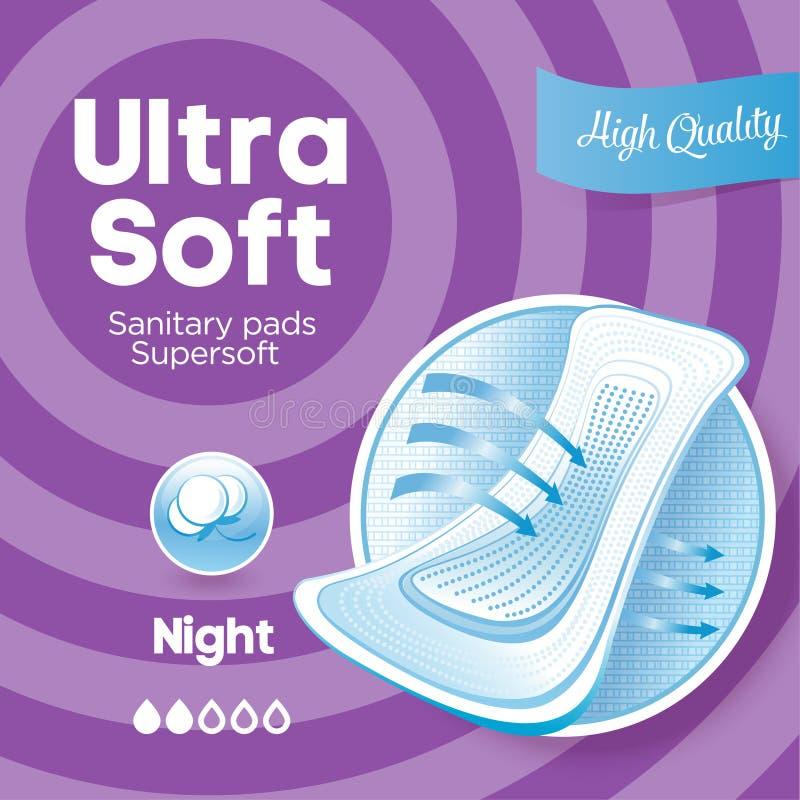 Emballage violet pour les protections sanitaires Empaquetage ultra doux de protections de coton illustration libre de droits