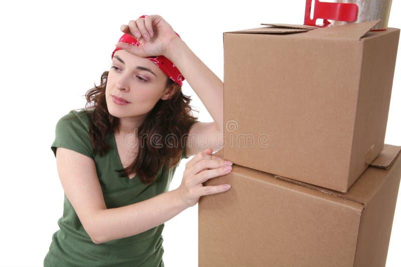 emballagekvinna arkivbild