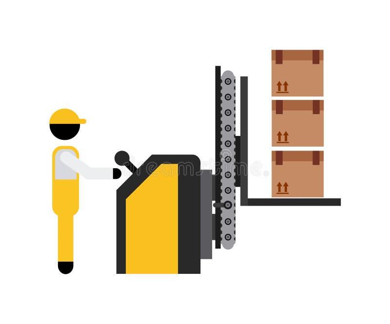 Emballagemaskin stock illustrationer