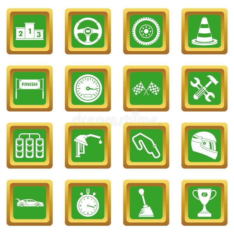 Emballant des icônes de vitesse réglées vertes illustration de vecteur