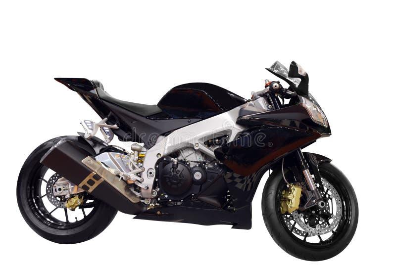 Emballant la motocyclette noire d'isolement images libres de droits