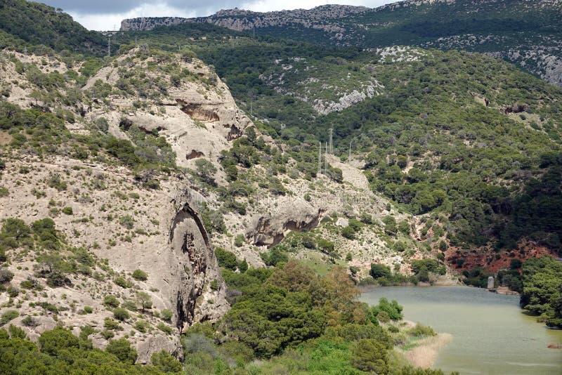Embalse DE Gaitanejo in Caminito del Rey in Andalusia, Spanje royalty-vrije stock afbeeldingen