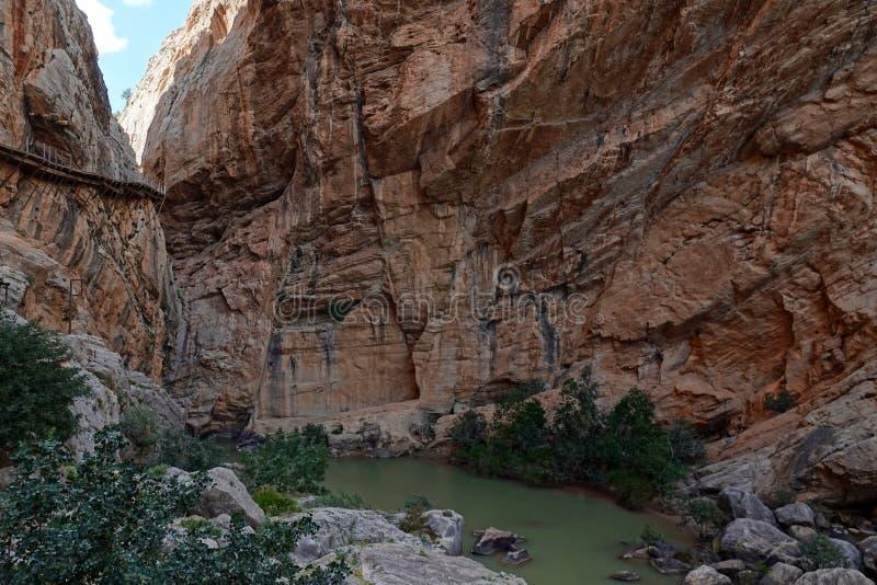 Embalse Taag in Caminito del Rey in Andalusia, Spanje royalty-vrije stock afbeeldingen