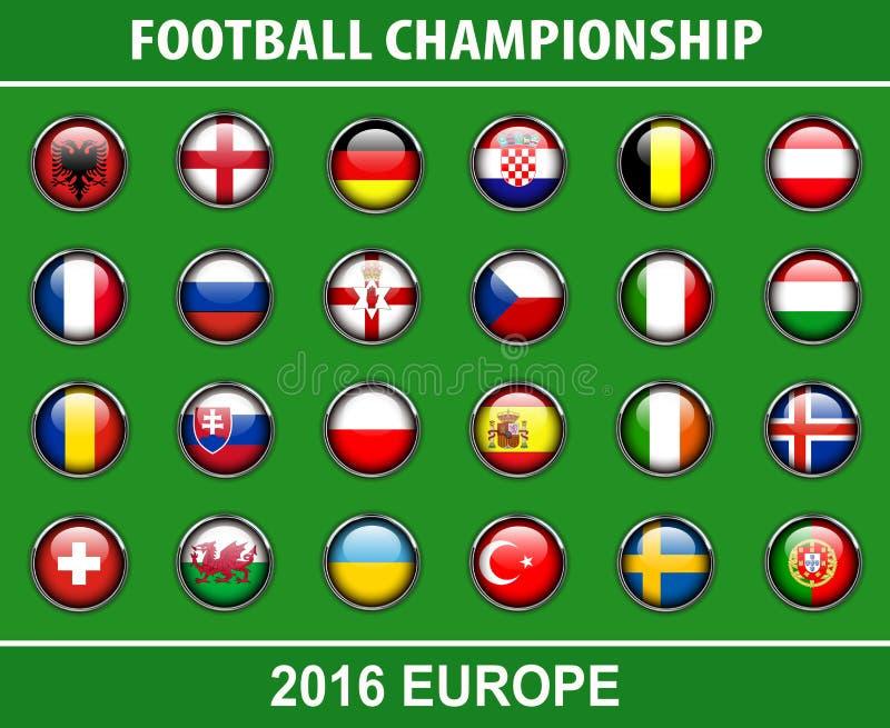 Embandeira botões do campeonato 2016 do futebol ilustração royalty free
