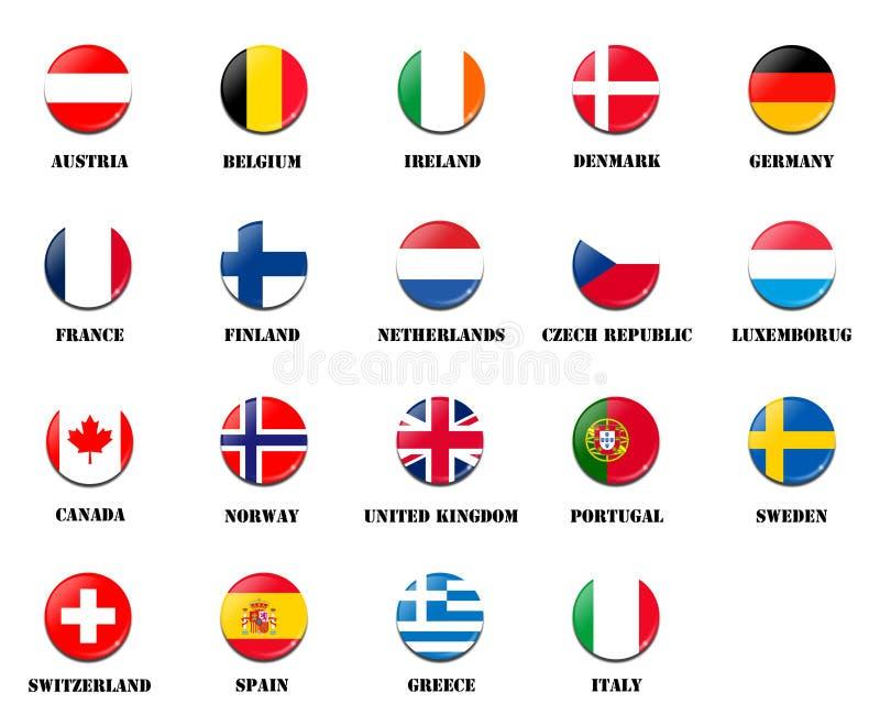Embandeire a bola de membros nacionais da Agência Espacial Europeia ESA ilustração do vetor