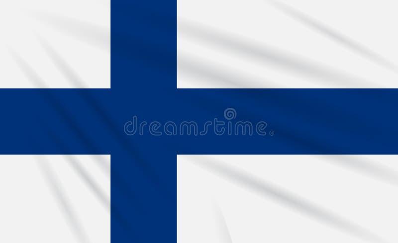 Embandeire Finlandia que balança no vento, vetor realístico ilustração stock