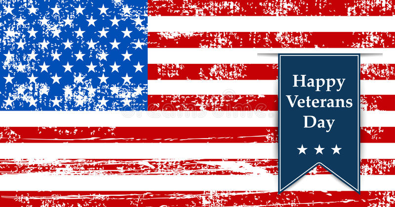 Embandeire a ilustração de América aos veteranos do dia retros ilustração do vetor
