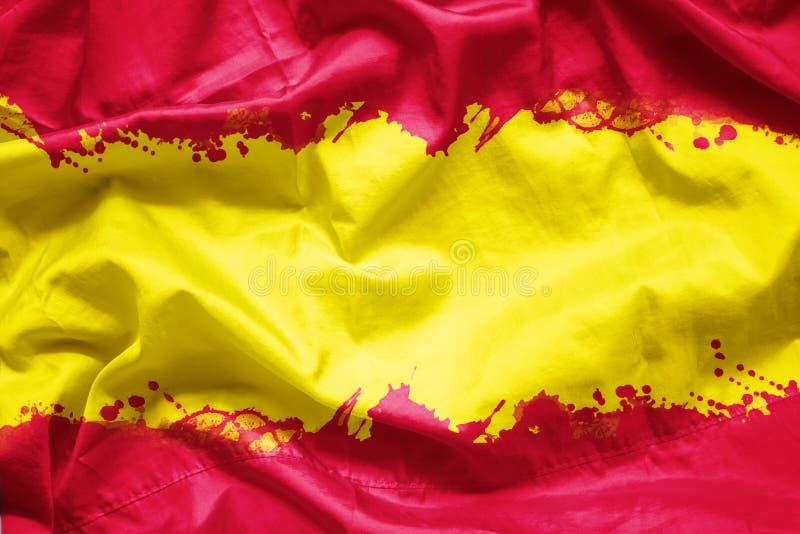 Embandeire o reino da Espanha pela escova de pintura da aquarela na tela da lona, estilo do grunge fotos de stock