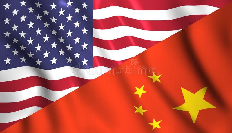 Embandeire a porcelana e os EUA que acenam na seda do vento ilustração royalty free