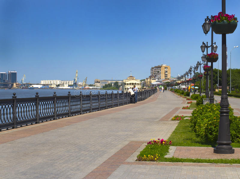 The embankment. Astrakhan. Embankment of the Volga River in the city of Astrakhan royalty free stock photography