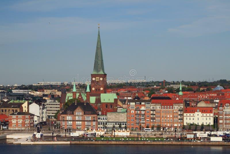 Embankment and city. Aarhus, Jutland, Denmark. Embankment and city Aarhus in Jutland, Denmark; 2018-07-12 stock images