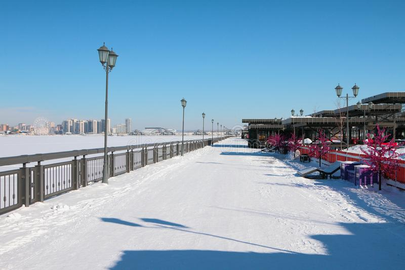 Embankment and city in winter. Kazan, Russia stock photography